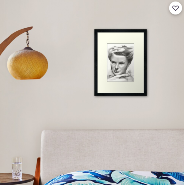 surrealistic ingrid bergman graphite pencil portrait drawing print mockup