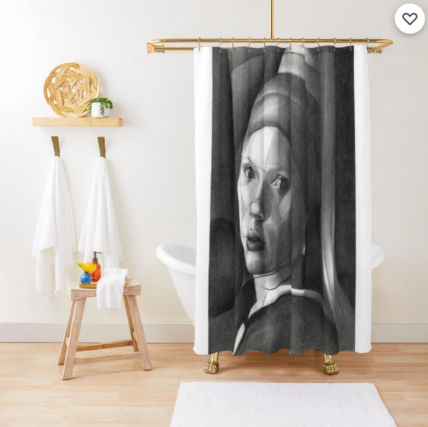 cubistic scarlett johansson graphite pencil drawing shower curtain mockup