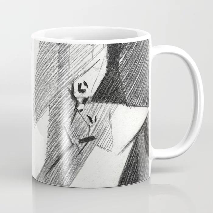 cubistic audrey hepburn graphite pencil drawing coffee mug mockup
