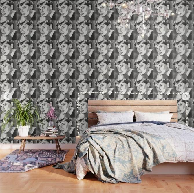cubistic audrey hepburn portrait graphite pencil drawing wallpaper mockup