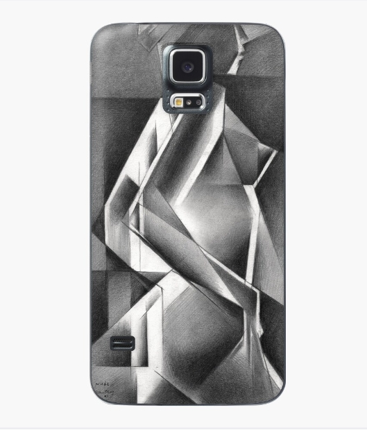 cubistic nude graphite pencil drawing case & skin for samsung galaxy mockup