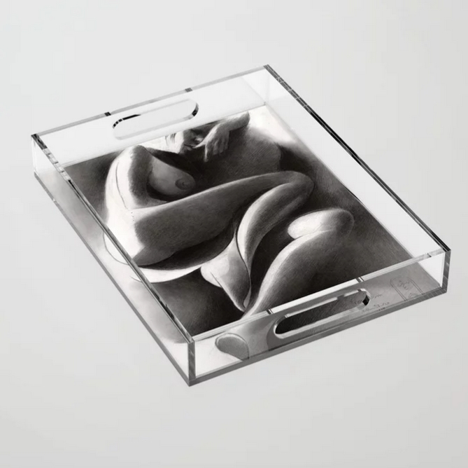 cubistic nude graphite pencil drawing acrylic tray mockup