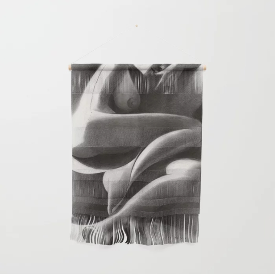 cubistic nude graphite pencil drawing wall hanging mockup