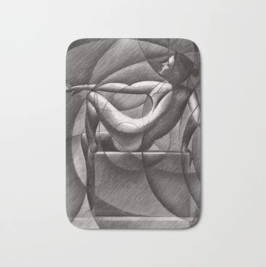 Cubistic nude graphite pencil drawing bath mat mockup
