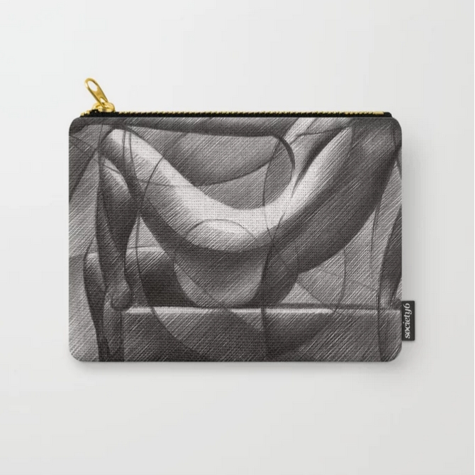 cubistic nude graphite pencil drawing carry-all pouch mockup