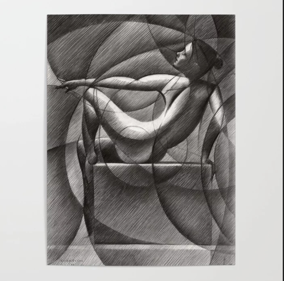 cubistic nude graphite pencil drawing poster mockup