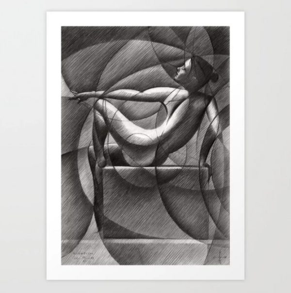 cubistic nude graphite pencil drawing mockup