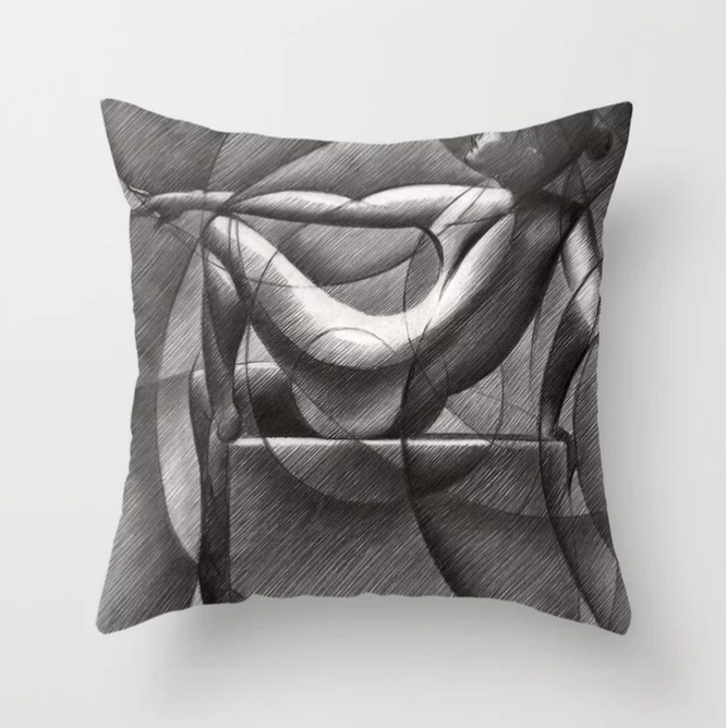 cubistic nude graphite pencil drawing throw pillow mockup