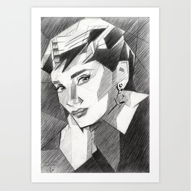 cubistic audrey hepburn graphite pencil drawing mockup