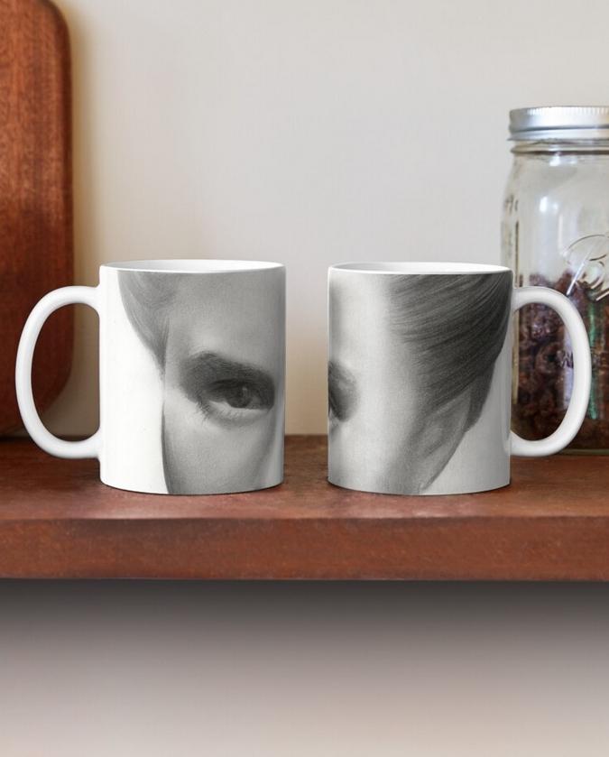 surrealistic ingrid bergman graphite pencil portrait drawing mug mockup