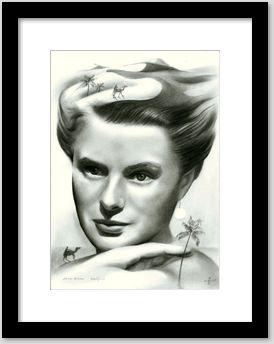 surrealistic ingrid bergman graphite pencil portrait drawing framing example