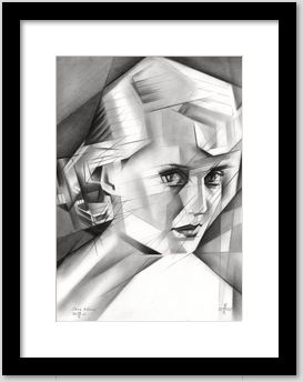 cubistic bette davis graphite pencil drawing framing example