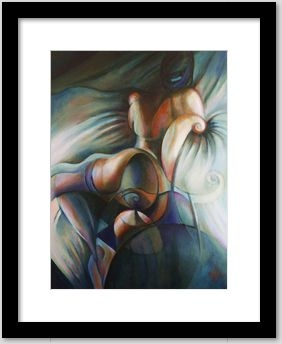 cubistic nude oil painting framing example