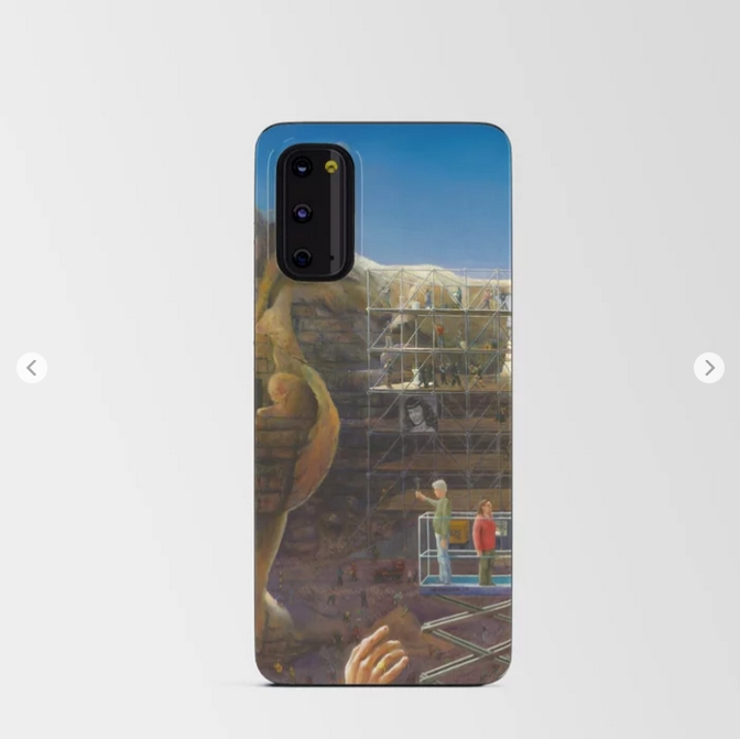 surrealistic pin-up oil painting android card case mockup