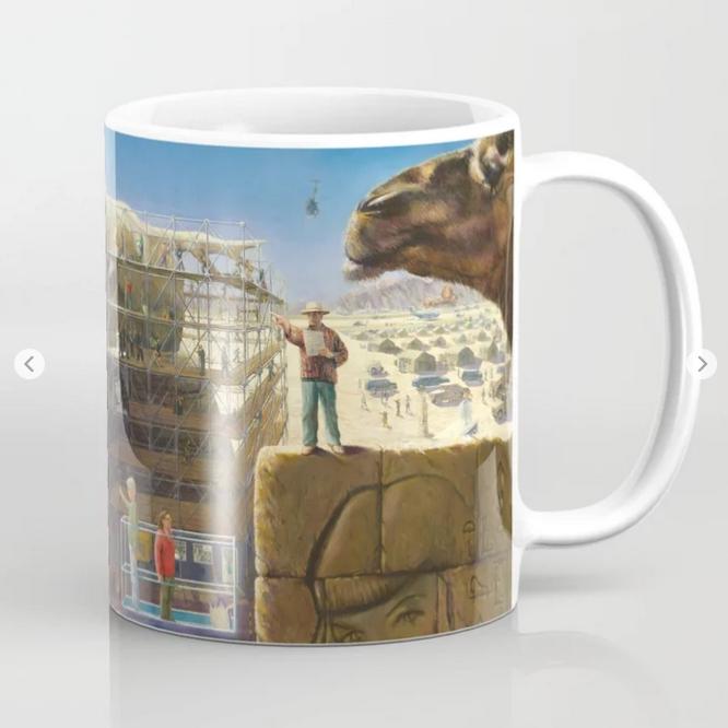 surrealistic nude oil painting coffee mug mockup