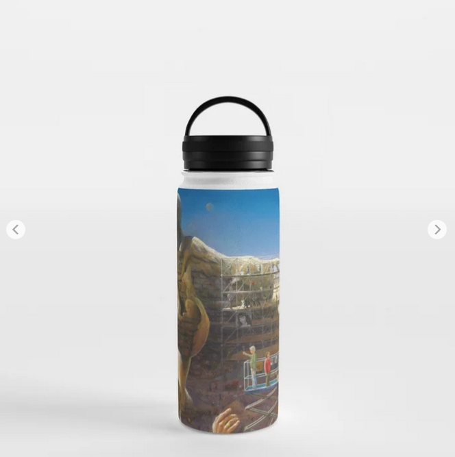 surrealistic pin-up oil painting water bottle mockup