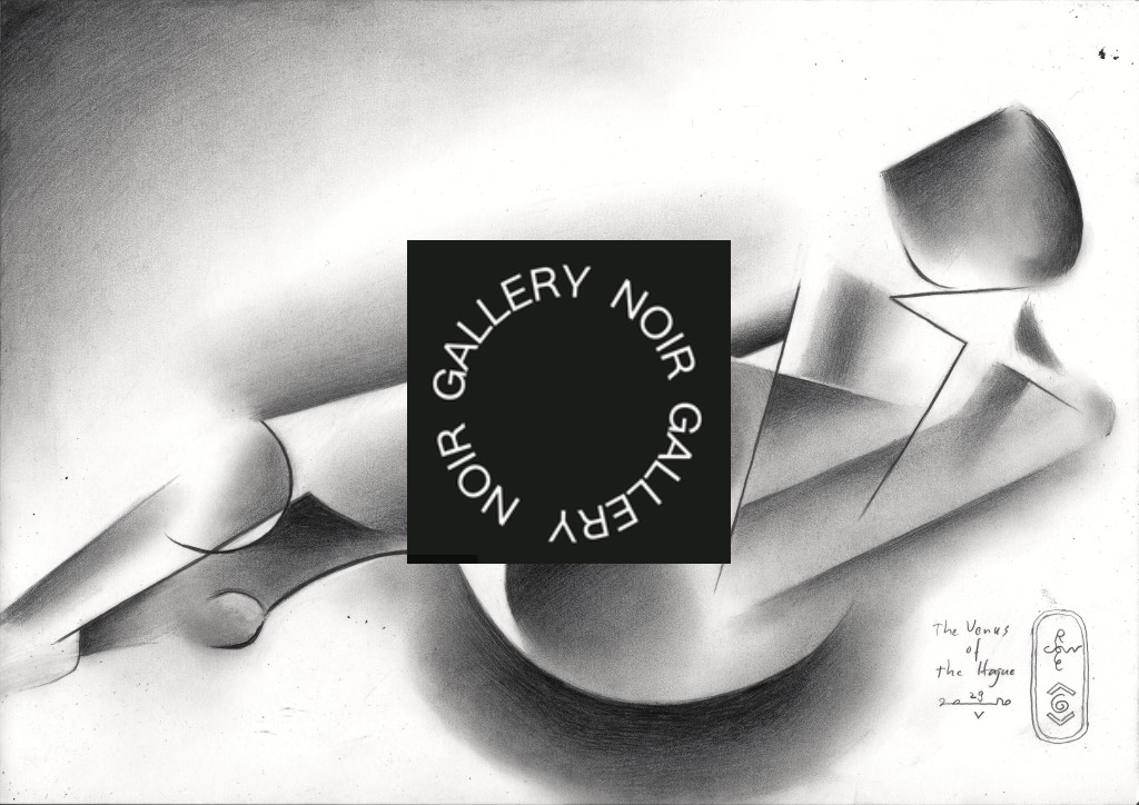 cubistic nude graphite pencil drawing publicity