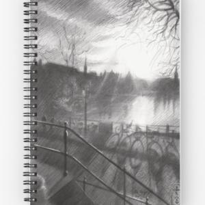 impressionistic cityscape graphite pencil drawing spiral notebook mockup