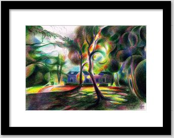 expressionist landscape colored pencil drawing framing example