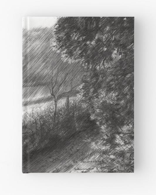 impressionistic landscape graphite pencil drawing hardcover journal mockup