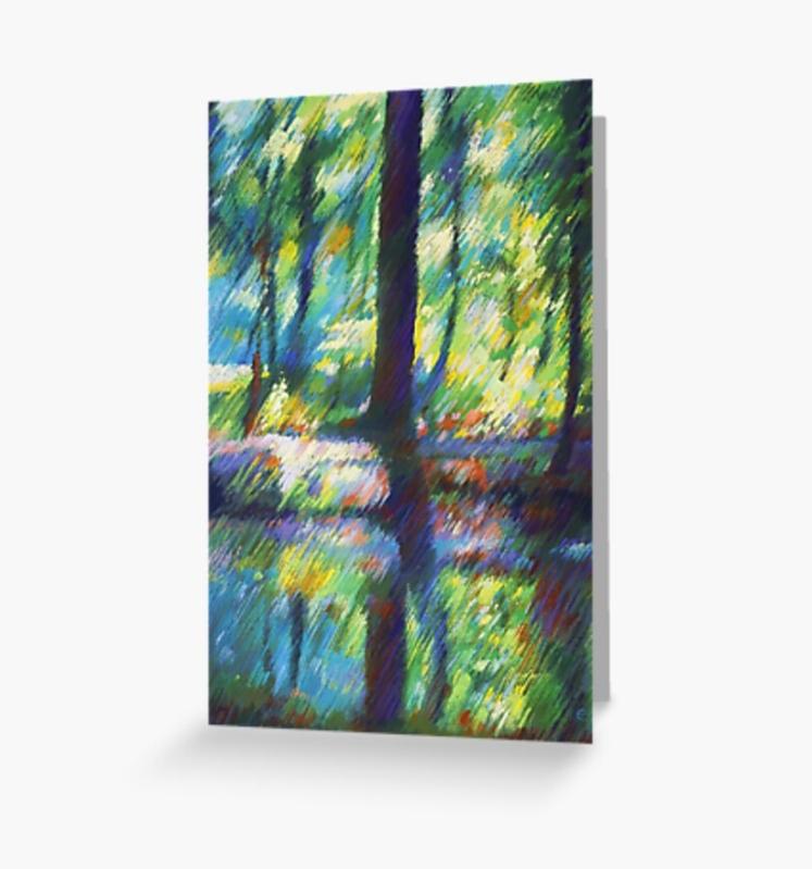 impressionistic landscape pastel drawing greeting card mockup