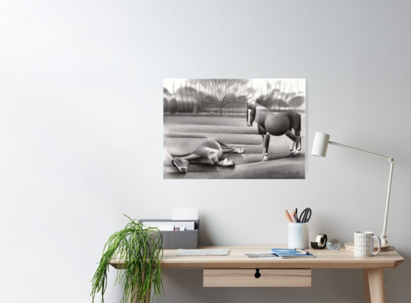 cubistic horse graphite pencil drawing poster mockup