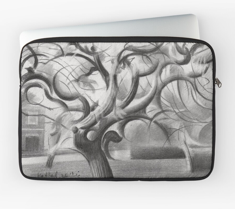 cubistic treescape graphite pencil drawing laptop sleeve mockup