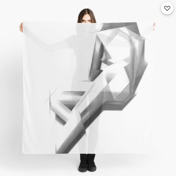 cubistic nude graphite pencil drawing scarf mockup