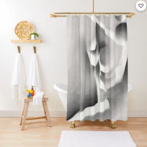 cubist nude graphite pencil drawing shower curtain mockup