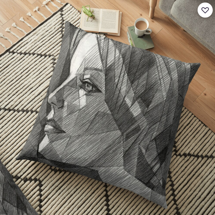 cubistic nude graphite pencil drawing floor pillow mockup
