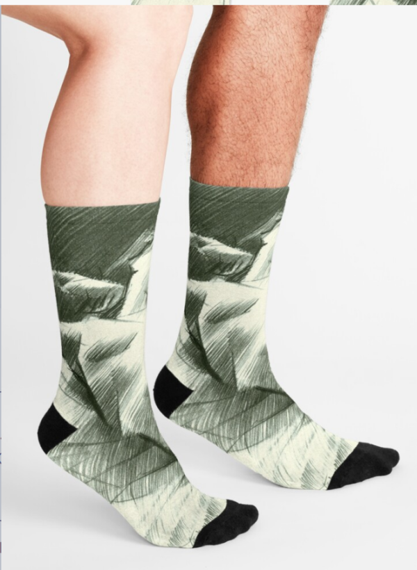 cubistic nude graphite pencil drawing socks mockup