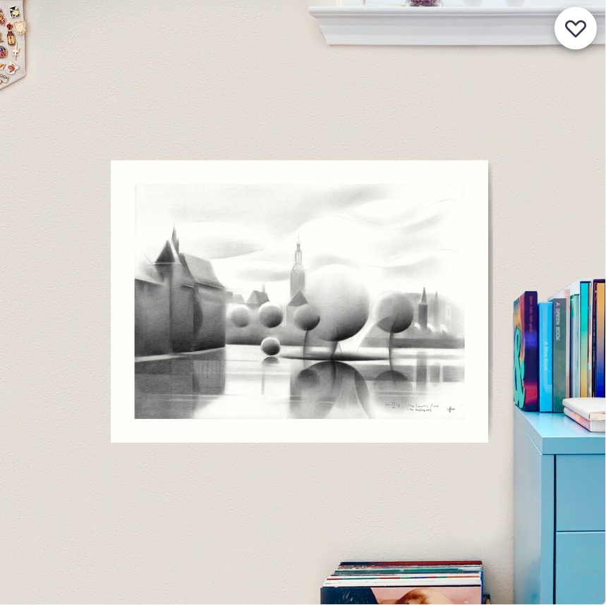 cubist urban graphite pencil drawing art print mockup