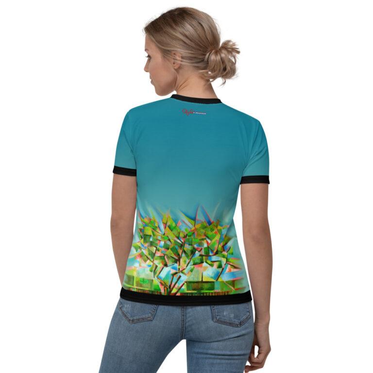 cubistic tree oil painting v-neck t-shirt mockup
