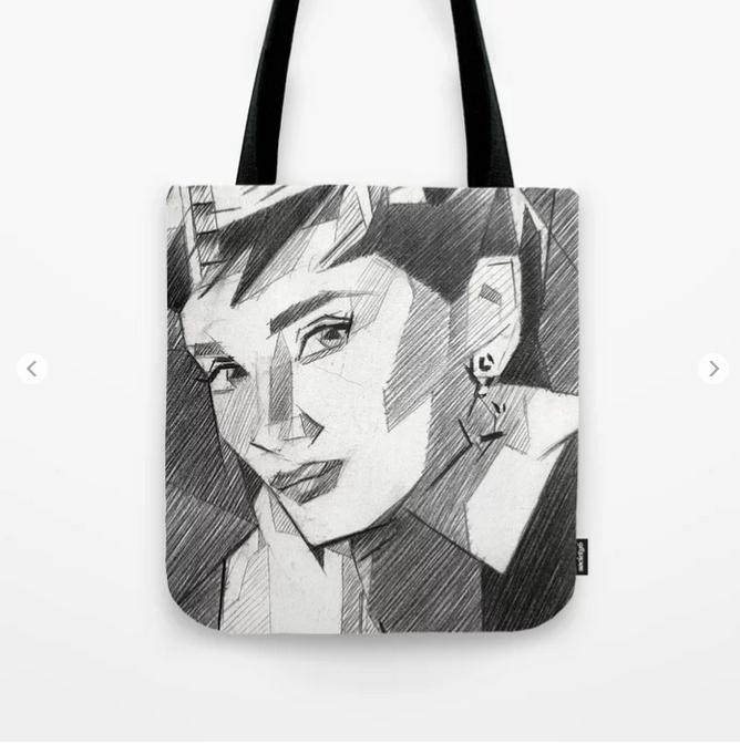 cubistic audrey hepburn portrait graphite pencil drawing tote bag mockup