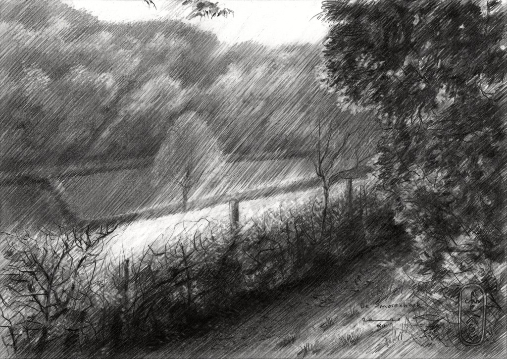 impressionistic landschape graphite pencil drawing
