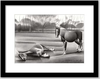 cubistic horse graphite pencil drawing framing example