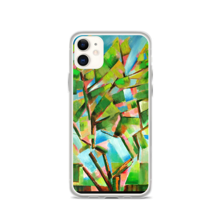 cubist tree oil painting iphone case mockup