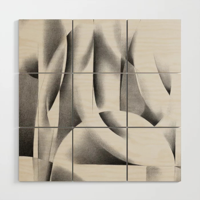 cubistic nude graphite pencil drawing wood wall art mockup