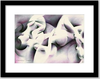 cubist nude graphite and colored pencil drawing framing example