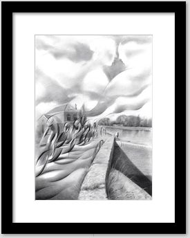 surrealistic bikes graphite pencil drawing framing example