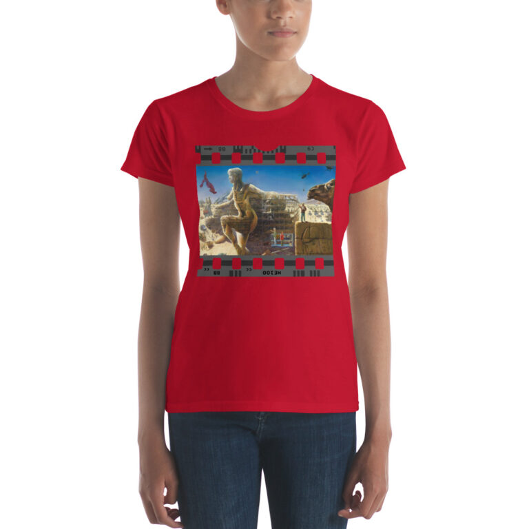 surrealist nude oil painting fashion fit t-shirt mockup