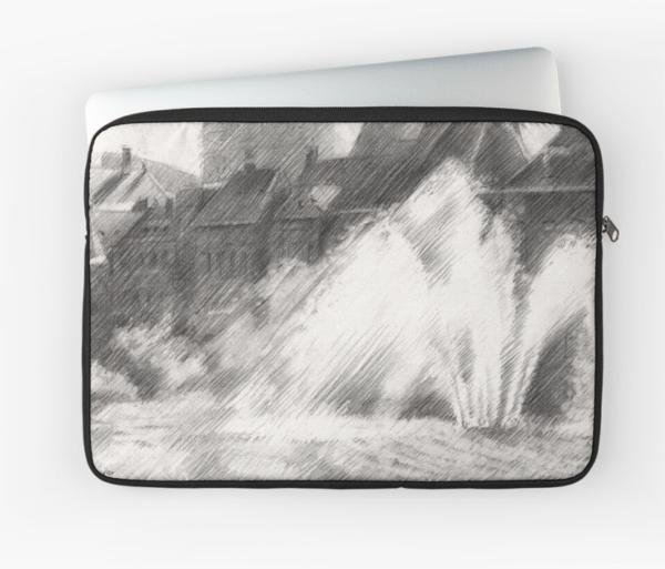 impressionist urban graphite pencil drawing laptop sleeve mockup
