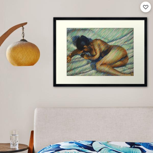 impressionist nude pastel drawing framed print mockup