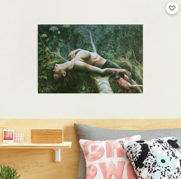 surrealist nude oil painting photographic print mockup
