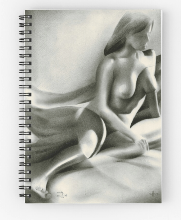 cubist nude graphite pencil drawing spiral notebook mockup
