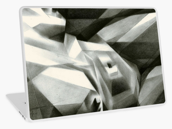 cubist nude graphite pencil drawing laptop skin mockup