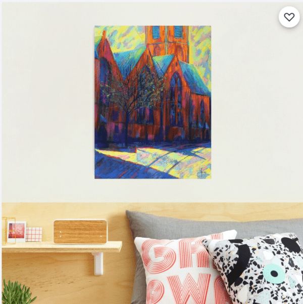 expressionist church pastel drawing photographic print mockup