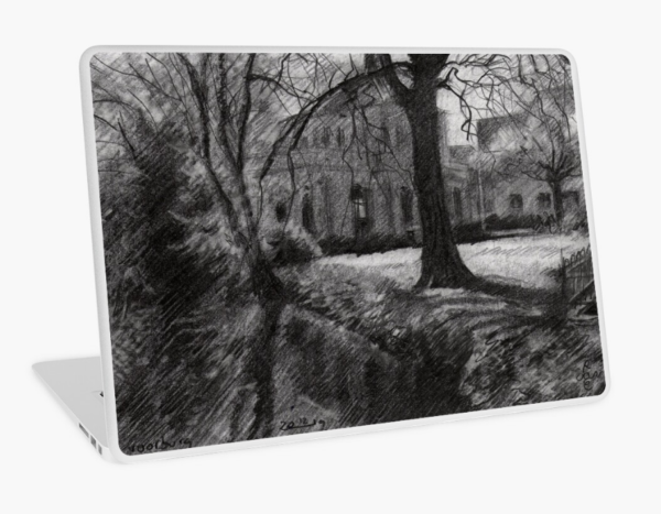impressionist landscape graphite pencil drawing laptop skin mockup