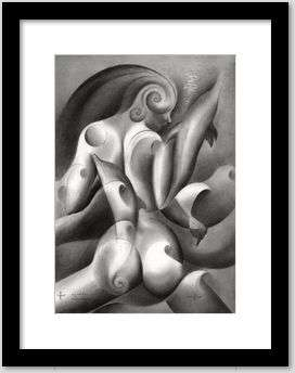 surrealist nude graphite pencil drawing framing example