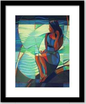 cubist female form pastel drawing framing example